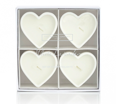 White Heart Shaped Candles