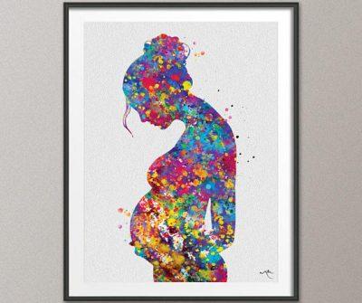 Pregnancy Watercolour Print