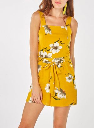Yellow Floral Square Neck Playsuit