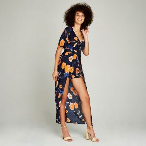 Navy Watercolour Flower Maxi Playsuit