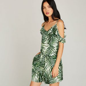 Cream Date Palm Leaf Cami Playsuit