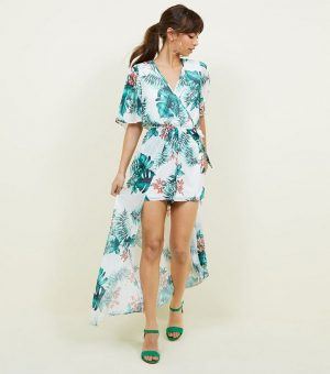 Off White Tropical Tie Back Max Playsuit
